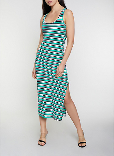 Horizontal Striped Tank Dress,KELLY GREEN,large