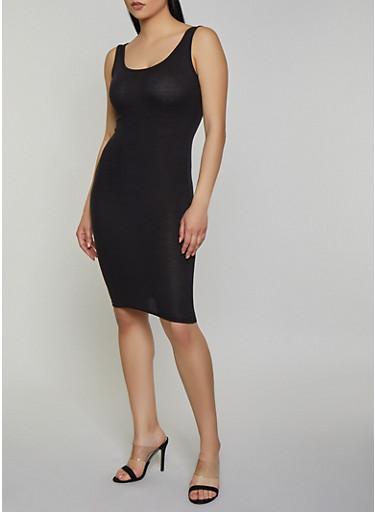 Solid Rib Knit Tank Dress | 0094038349998,BLACK,large