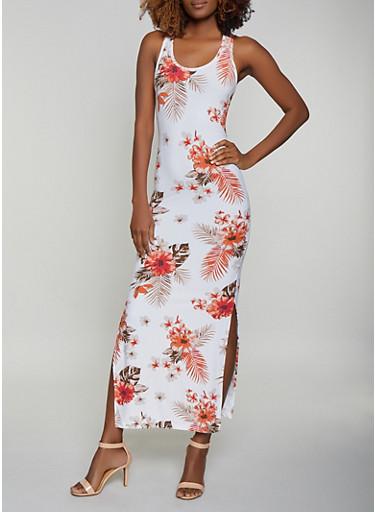 Soft Knit Floral Racerback Tank Maxi Dress,IVORY,large