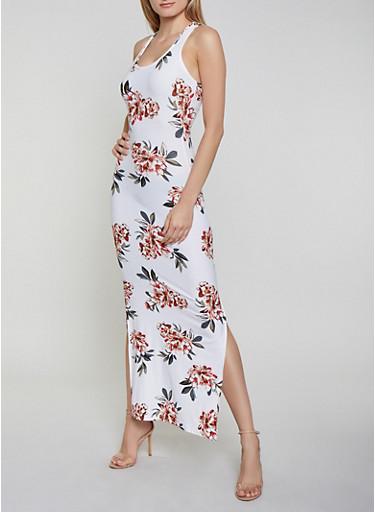 Floral Tank Maxi Dress   0094051060954,IVORY,large