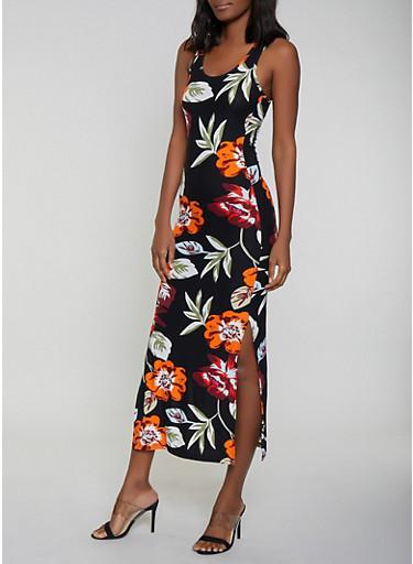 Floral Side Slit Maxi Dress | 0094051061954,BLACK,large
