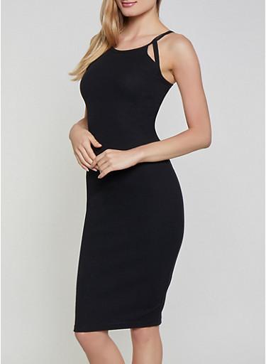 Ribbed Knit Cut Out Tank Dress,BLACK,large