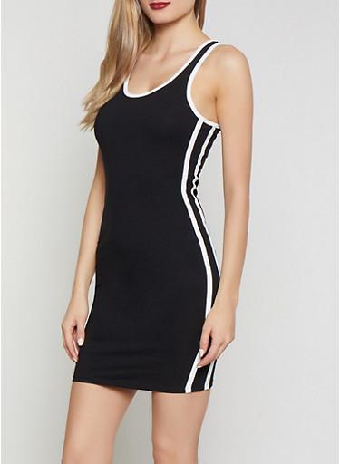 Contrast Trim Mini Tank Dress,BLACK/WHITE,large