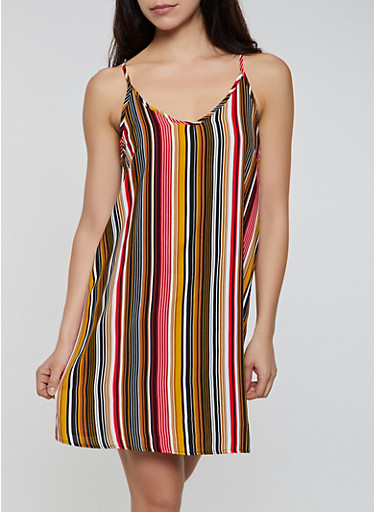Vertical Stripe V Neck Cami Dress,RUST,large