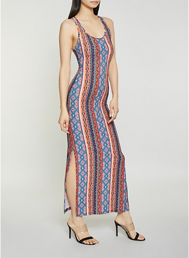 Aztec Racerback Maxi Dress,RUST,large