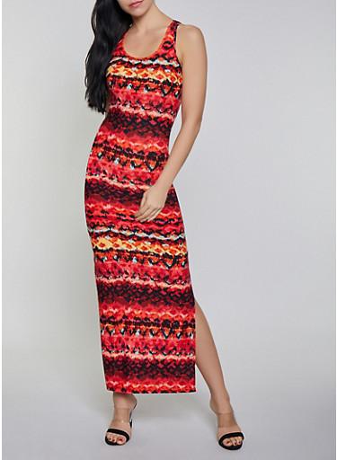 Printed Side Slit Tank Maxi Dress,RUST,large