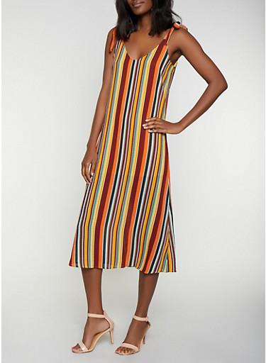 Striped Tie Strap Dress,RUST,large