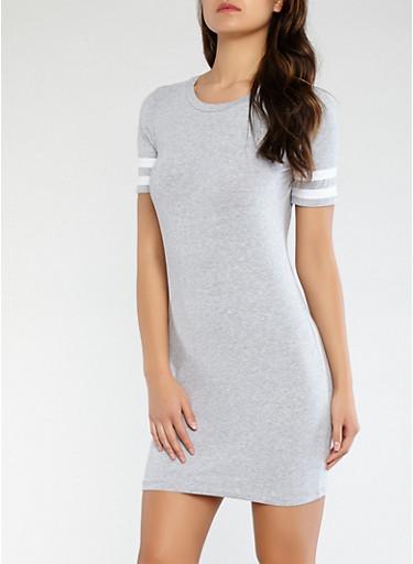 Varsity Stripe Sleeve T Shirt Dress,HEATHER,large