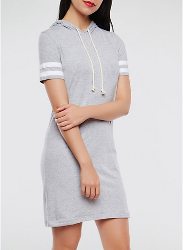 Varsity Stripe Hooded Dress,HEATHER,large