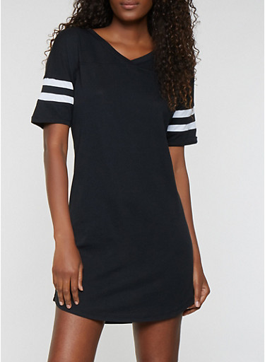 Striped Sleeve T Shirt Dress,BLACK,large
