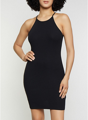 Ribbed Knit Midi Bodycon Dress,BLACK,large