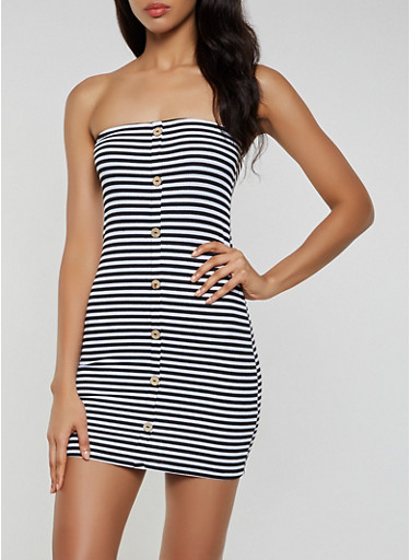 Striped Rib Knit Mini Tube Dress,BLACK/WHITE,large
