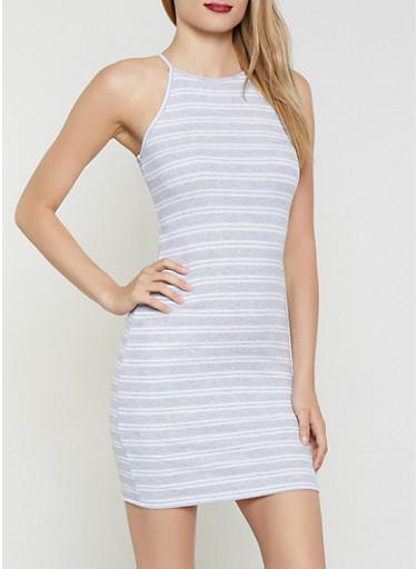 Striped Rib Knit Dress | 0094054261145,HEATHER,large