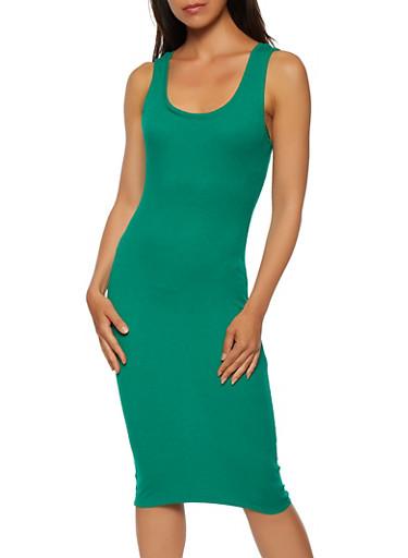 Scoop Neck Rib Knit Tank Dress,KELLY GREEN,large