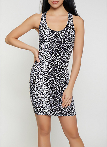 Leopard Tank Dress,GRAY,large