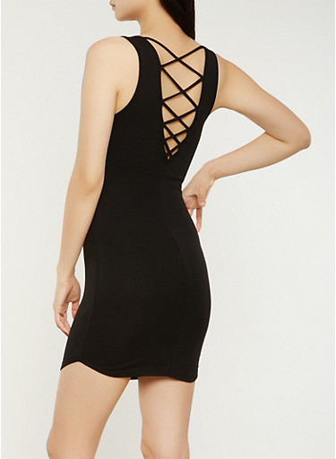 Caged Back Tank Dress,BLACK,large