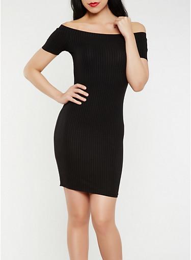 Off the Shoulder Rib Knit Dress,BLACK,large
