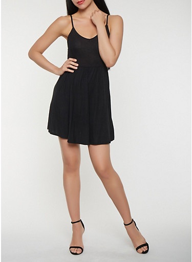 Tie Back Skater Dress,BLACK,large