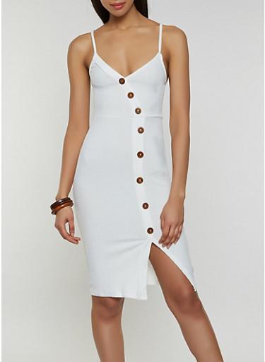 Rib Knit Button Detail Bodycon Cami Dress,WHITE,large