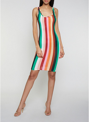Vertical Stripe Midi Cami Dress,MULTI COLOR,large