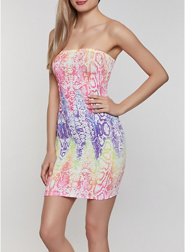 Multi Color Snake Print Tube Dress,MULTI COLOR,large