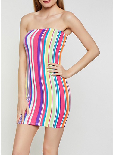 Neon Striped Mini Tube Dress,MULTI COLOR,large