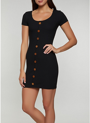 Button Detail Rib Knit Bodycon Dress,BLACK,large