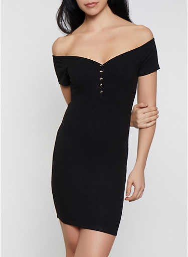 Off the Shoulder Mini Bodycon Dress,BLACK,large