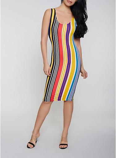 Striped Tank Dress | 0094058750528,NAVY,large