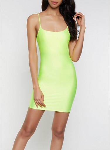 Neon Bodycon Dress,YELLOW,large