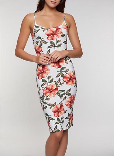 Flower Print Cami Dress,IVORY,large