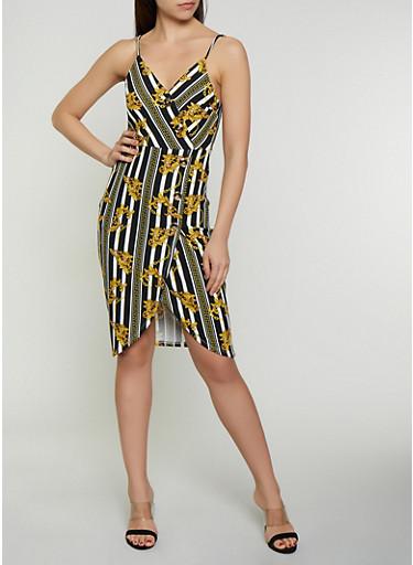 Status Print Button Faux Wrap Dress,BLACK/WHITE,large