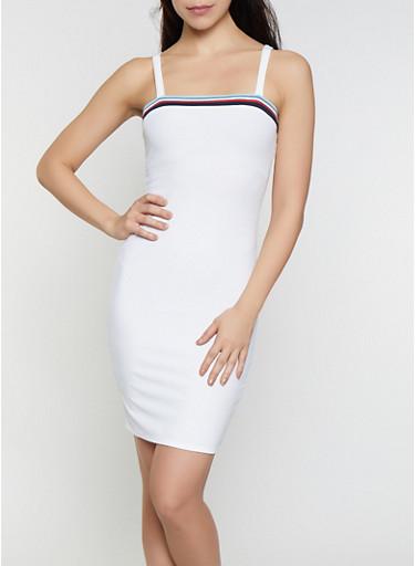 Striped Trim Rib Knit Dress,WHITE,large