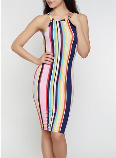 Striped Soft Knit High Neck Tank Dress,MULTI COLOR,large