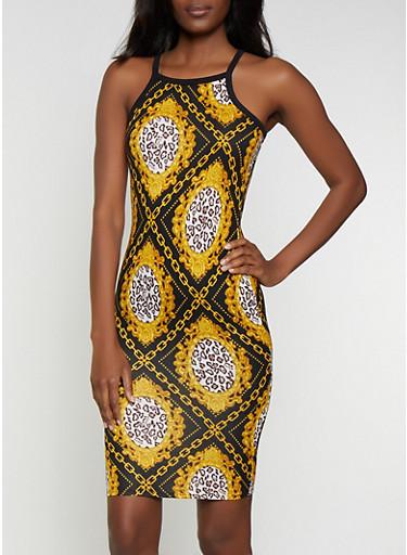Chain Print High Neck Tank Dress,BLACK,large