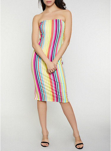 Shirred Side Striped Tube Dress,YELLOW,large