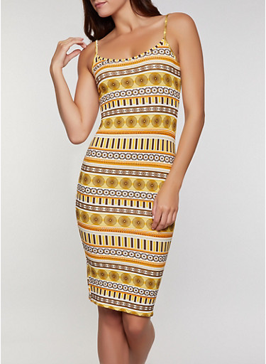 Soft Knit Printed Cami Dress,GOLD,large