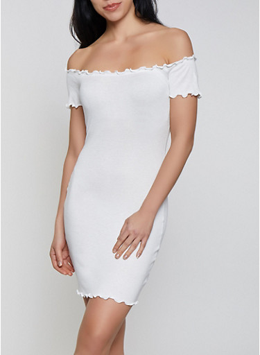 Lettuce Edge Off the Shoulder Bodycon Dress,WHITE,large