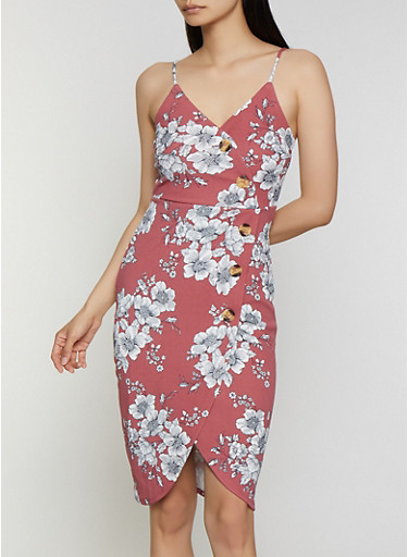 Sleeveless Floral Faux Wrap Dress,RED,large