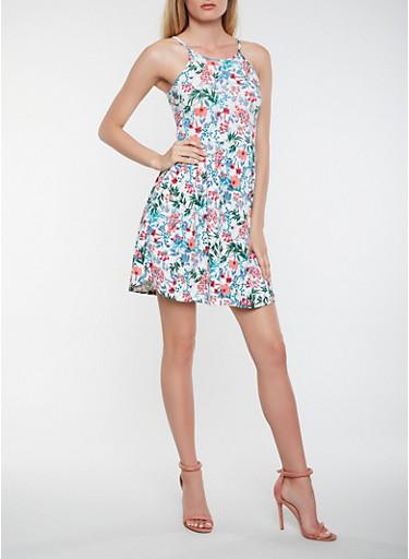 Textured Knit Floral Skater Dress,IVORY,large