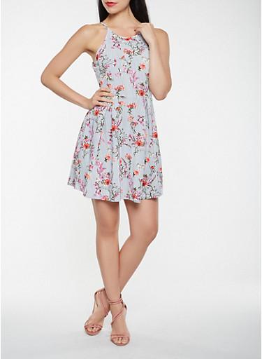 Floral Textured Knit Skater Dress,NAVY,large