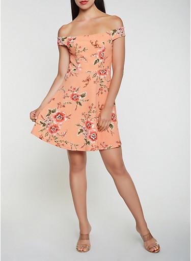 Floral Textured Knit Off the Shoulder Dress | Tuggl