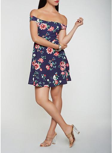 Floral Textured Knit Off the Shoulder Skater Dress,NAVY,large