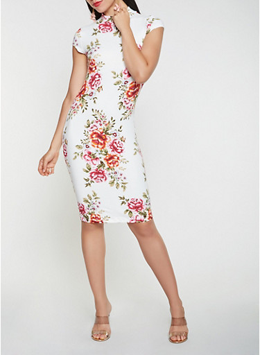 Floral Bodycon Dress,IVORY,large