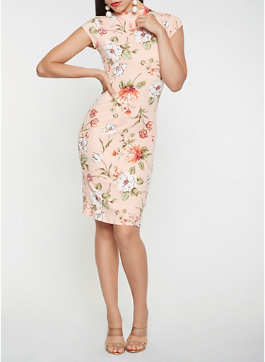 Floral Soft Knit Bodycon Dress,PINK,large