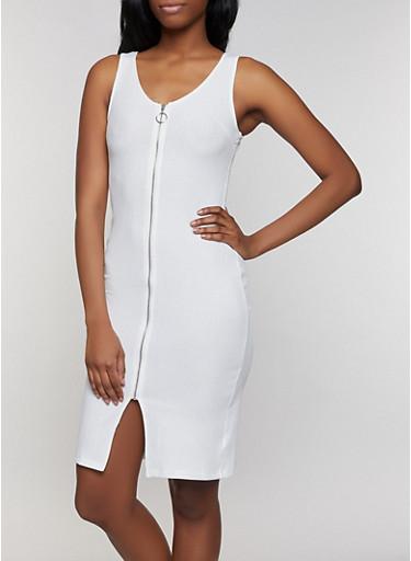 Zip Front Bodycon Tank Dress,WHITE,large