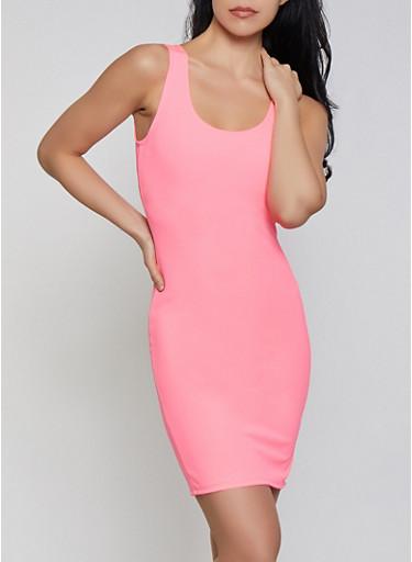 Basic Scoop Neck Tank Dress,NEON PINK,large