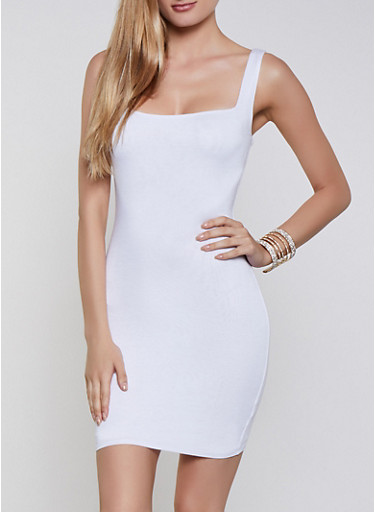 Bodycon Tank Dress,WHITE,large