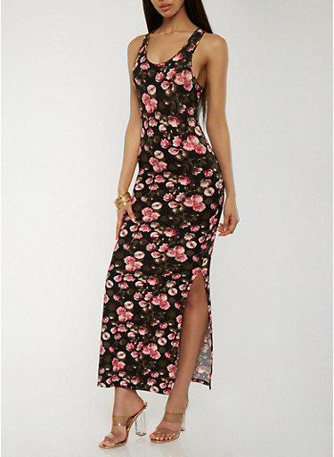 Soft Knit Floral Maxi Dress,BLACK,large