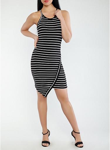 Striped Tank Dress,BLACK/WHITE,large